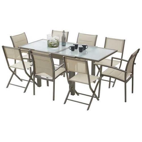 ENSEMBLE TABLE ET CHAISES DE JARDIN MODULO 4 PLACES TAUPE ...