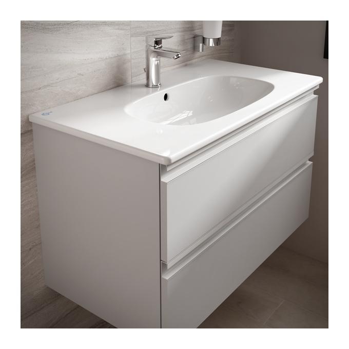 Ideal Standard Lavabo Tesi.Ideal Standard Meuble Sous Plan 60x44 Cm 2 Tiroirs Blanc Laque Tesi