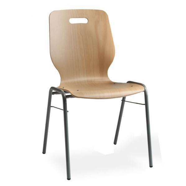 Chaise coque en bois empilable/accrochable