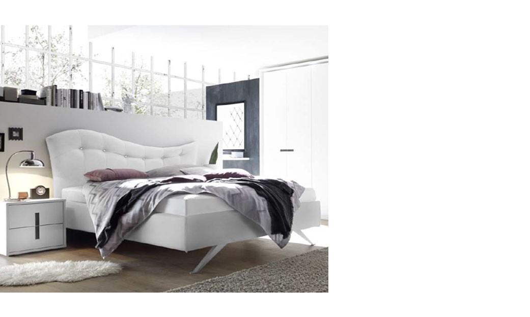 Chambre adulte design laque blanc et anthracite aria