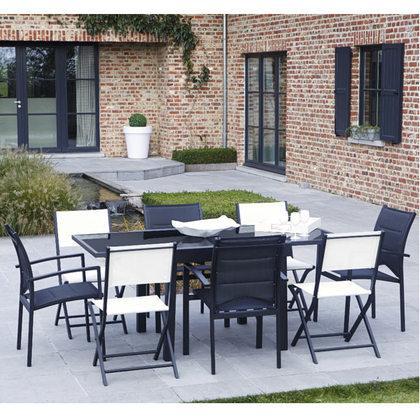 ensemble de jardin modulo noir 8 places. Black Bedroom Furniture Sets. Home Design Ideas