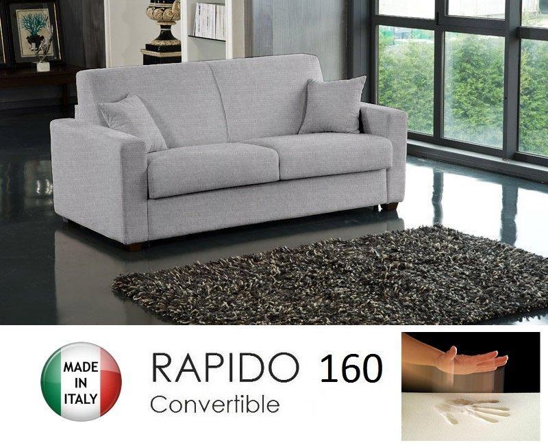 Canape convertible rapido 160cm dreamer tissu tweed cross gris silex matelas - Canape convertible 160 cm ...