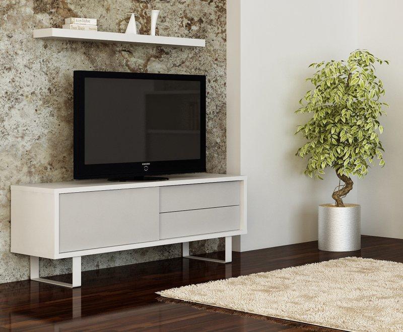 Tema Home Milo Meuble Tv Design Laque Blanc Avec Portes Tiroirs