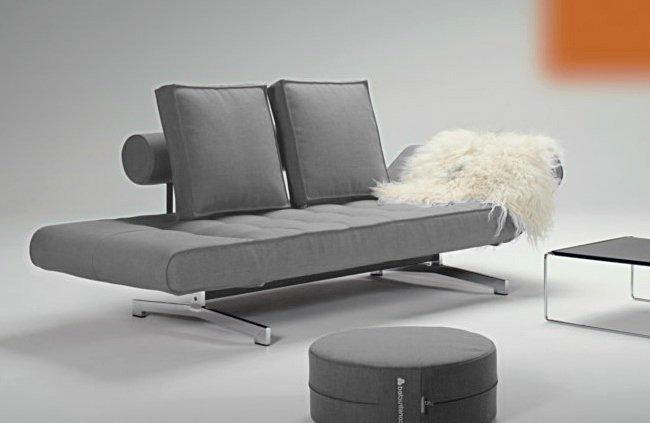 canape lit design ghia gris convertible innovation 90 210cm. Black Bedroom Furniture Sets. Home Design Ideas