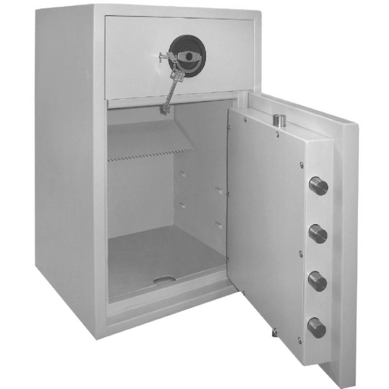 Coffre fort de dépôt serrure électronique et à clé