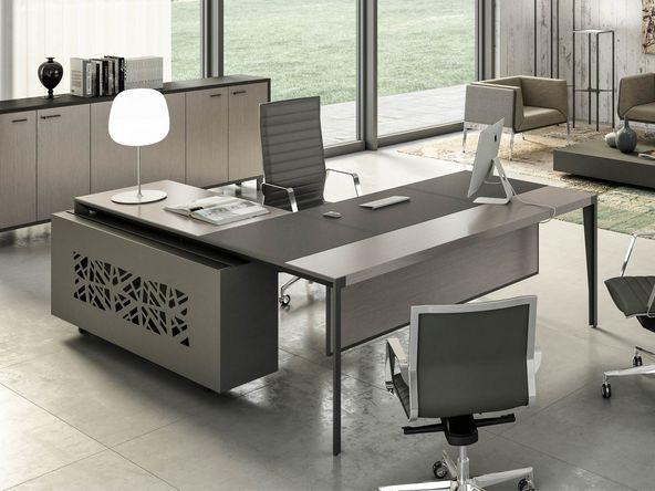bureau de direction avec insert en cuir retour et caisson comparer les prix de bureau de. Black Bedroom Furniture Sets. Home Design Ideas