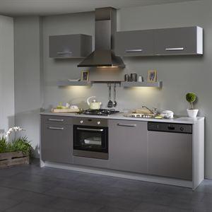 Box cuisine l 245 cm grise facade lave vaisselle for Cuisine facade grise