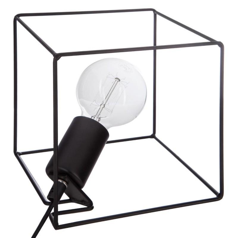 Lampe à poser carré 18cm noir - paris prix
