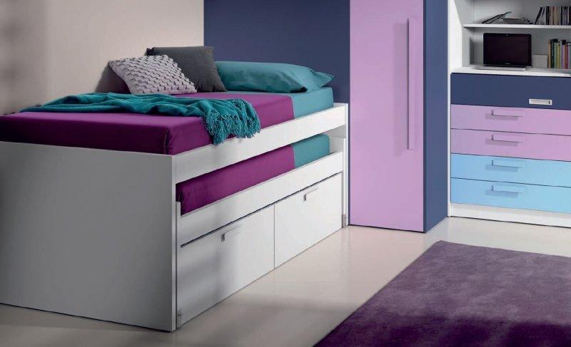 lit gigogne loopy avec 2 tiroirs couchage 90 x 190. Black Bedroom Furniture Sets. Home Design Ideas
