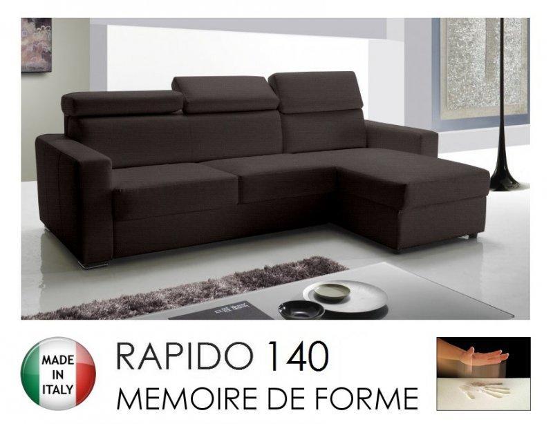 Canapé d'angle réversible rapido sidney memory matelas 140*14*190 cm mémoire de forme, tissu tweed cross marron.