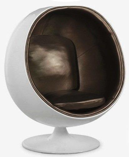 fauteuil boule ball chair coque blanche interieur cuivre design 70 39 s. Black Bedroom Furniture Sets. Home Design Ideas