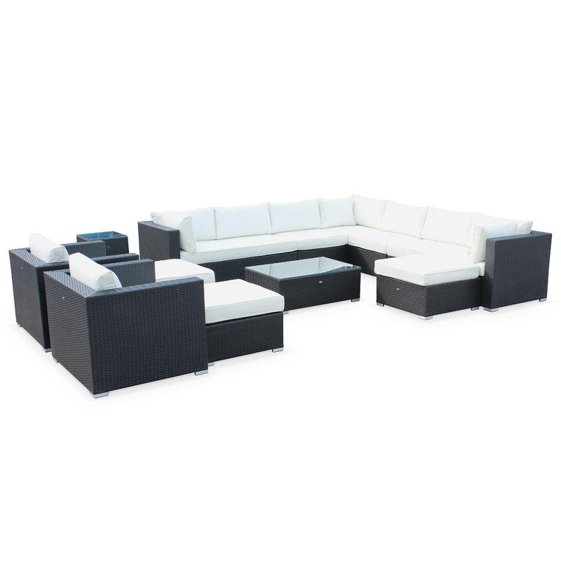 salon de jardin en r sine tress e xxl 14 places noir fauteuil canap g ant alice 39 s garden. Black Bedroom Furniture Sets. Home Design Ideas