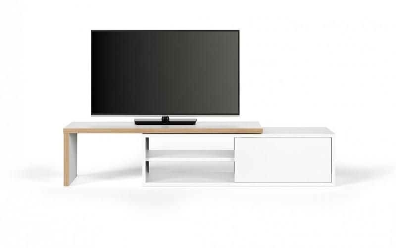 temahome meuble tv modulable move blanc mat et bois avec 1. Black Bedroom Furniture Sets. Home Design Ideas