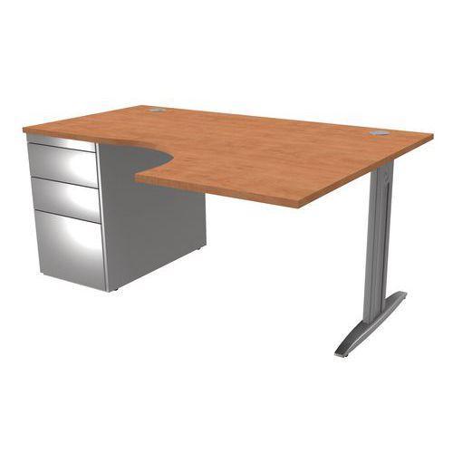 Bureau compact idol avec caisson porteur 3 tiroirs pieds i for Bureau petite largeur