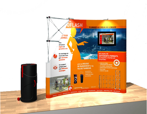 Stand pliable expoflash multimedia for Montage stand parapluie
