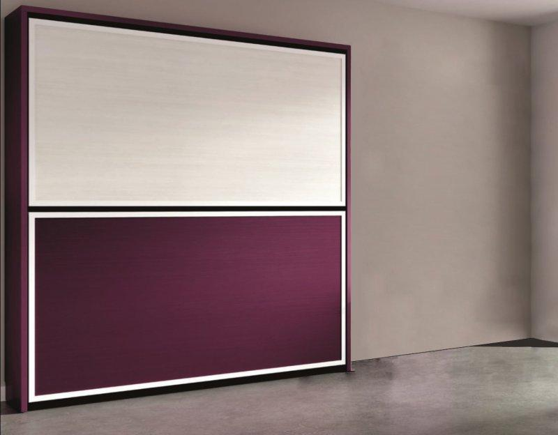 armoire lit superposee escamotable transversale avec matelas violet et blanc 2 couchage 90. Black Bedroom Furniture Sets. Home Design Ideas