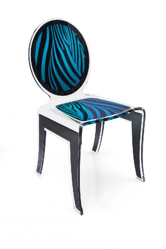 wild chaise design en plexi zebree noir bleu par acrila. Black Bedroom Furniture Sets. Home Design Ideas