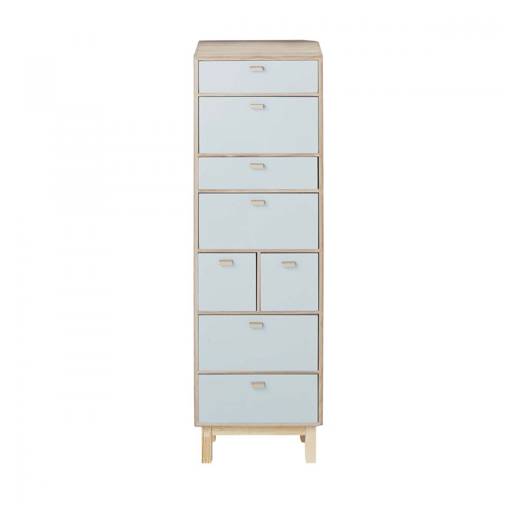 commode haute en bois bleu pastel 8 tiroirs bloomingville. Black Bedroom Furniture Sets. Home Design Ideas