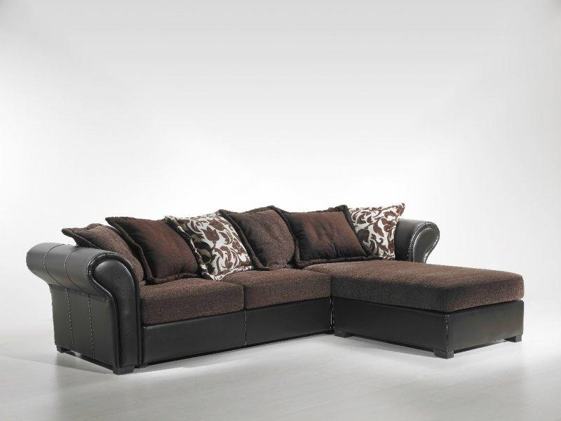nepal marron canape tissu et cuir. Black Bedroom Furniture Sets. Home Design Ideas