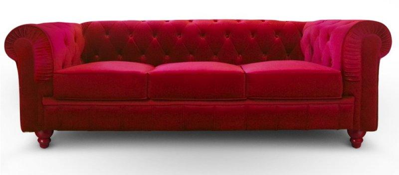 canape chesterfield royal 3 places velours rouge. Black Bedroom Furniture Sets. Home Design Ideas