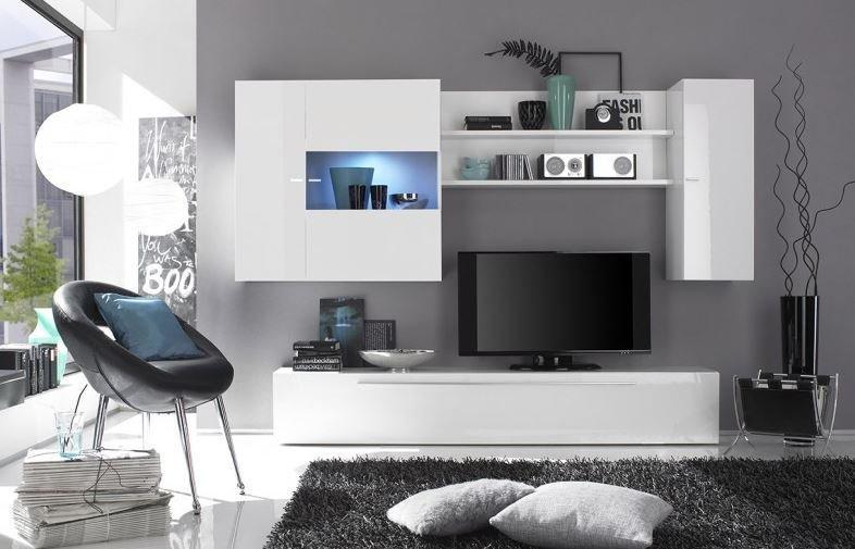 COMPOSITION MURALE TV DESIGN PRIMERA BLANC BRILLANT