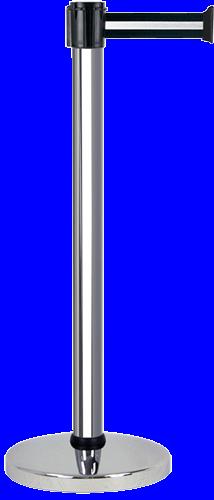 Poteau alu chromé à sangle Noir/Argent 3m x 50mm - 2010405