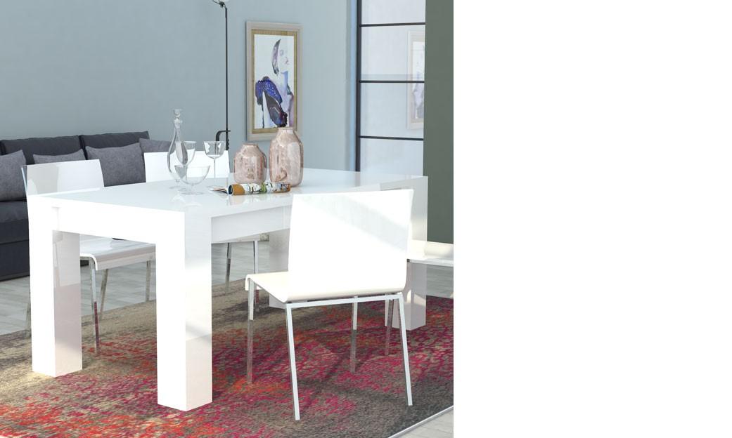 Table à manger extensible blanc laqué design betty