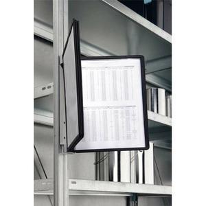 Durable support mural vario 5 magnétique - cadre noir, l ivré avec 5 pochettes en polypropylène