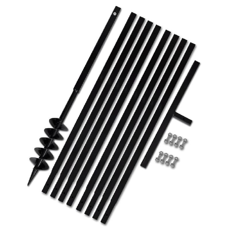 Vidaxl tarière de sol avec manche 100 mm et tube d\'extension 9 m acier