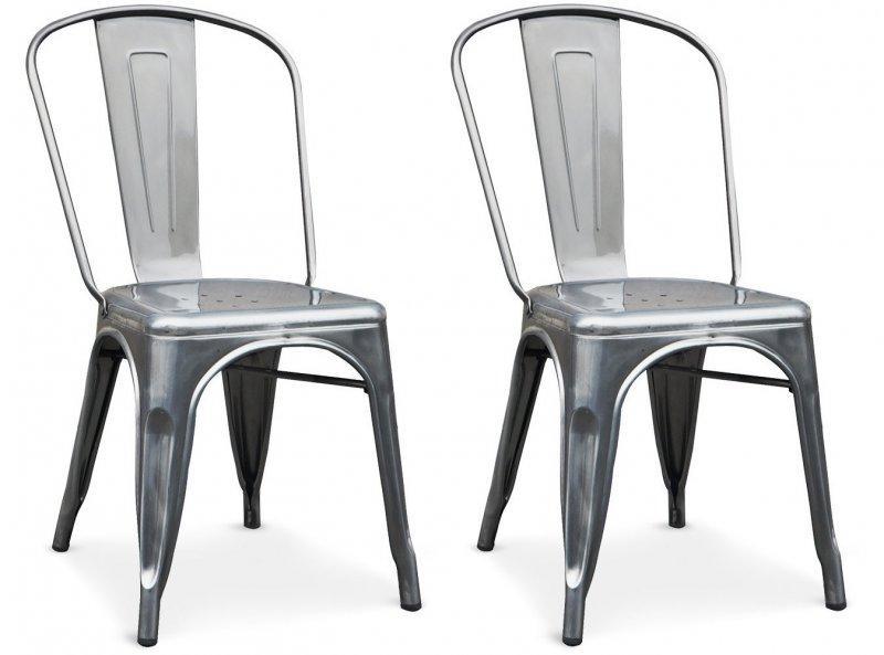 lot de 2 chaises industry en acier chrom - Chaise Acier