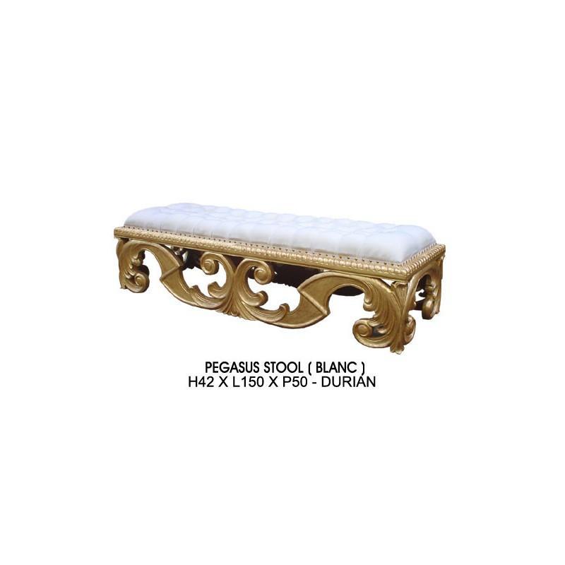 banquette baroque bois dore et imitation cuir blanc modele pegasus. Black Bedroom Furniture Sets. Home Design Ideas