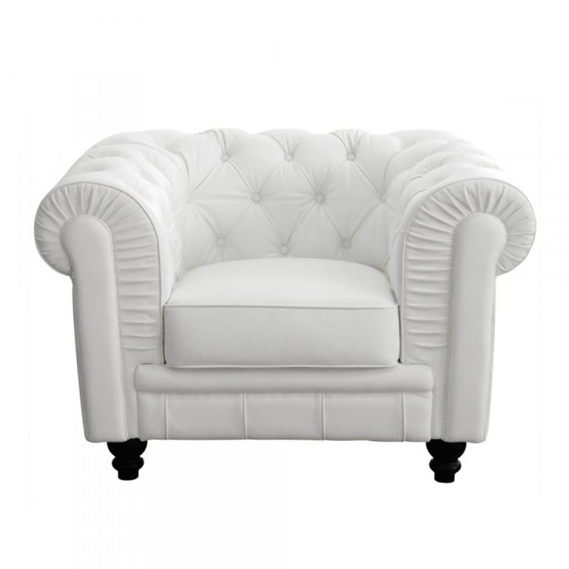 fauteuil chesterfield 1 place en cuir by cast blanc. Black Bedroom Furniture Sets. Home Design Ideas