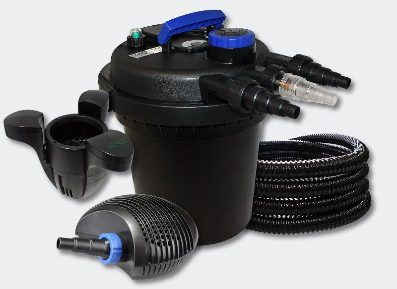 Kit filtration bassin à pression 6000l 11 watts uvc 70 watts pompe tuyau skimmer 4216216