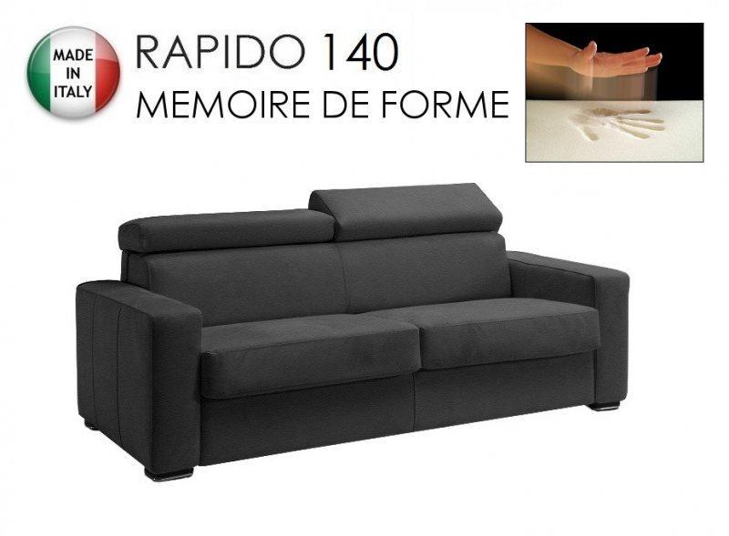 canape rapido sidney deluxe memory matelas 140 14 190 cm memoire de forme cuir vachette gris. Black Bedroom Furniture Sets. Home Design Ideas