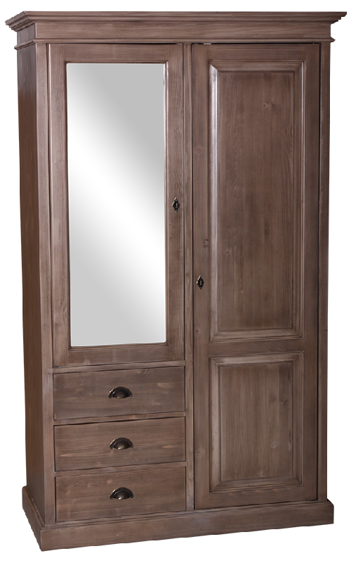 armoire 2 portes 3 tiroirs l 120 cm en pin massif picardie. Black Bedroom Furniture Sets. Home Design Ideas