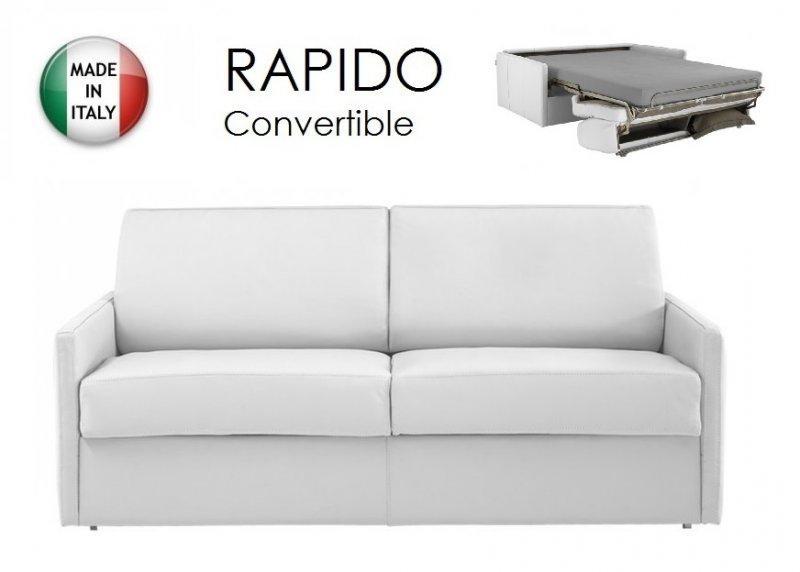 canape lit 3 4 places sun convertible ouverture rapido 160cm cuir vachette blanc. Black Bedroom Furniture Sets. Home Design Ideas