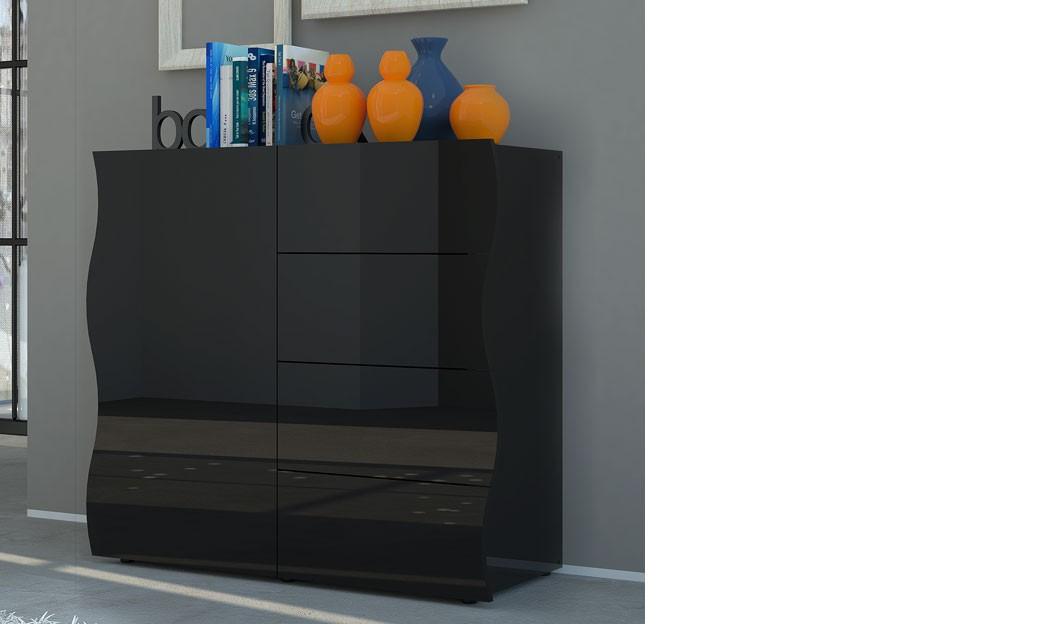 Buffet design noir laque 1 porte et 4 tiroirs pango 2