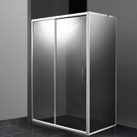paroi d 39 angle 100x80cm porte coulissante sur fixe et. Black Bedroom Furniture Sets. Home Design Ideas