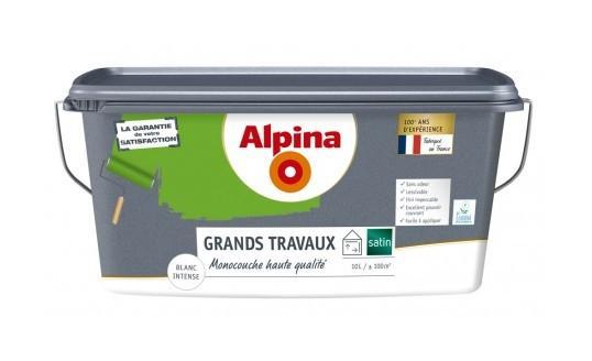 PEINTURE GRANDS TRAVAUX 10L BLANC SATIN - ALPINA