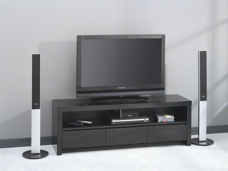Black Meuble Tv Avec 3 Tiroirs Laque Noir Brillant