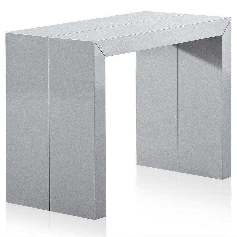 Console extensible illusion laque gris argente brillant - Console extensible gris laque ...
