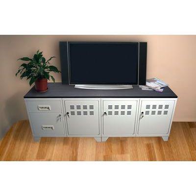 meuble de television metal blanc phsa 202770. Black Bedroom Furniture Sets. Home Design Ideas