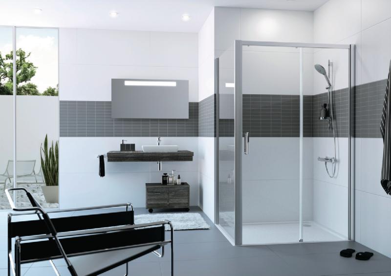 paroi de douche classics 2 easy entry porte coulissante grande largeur 1 element avec segment. Black Bedroom Furniture Sets. Home Design Ideas