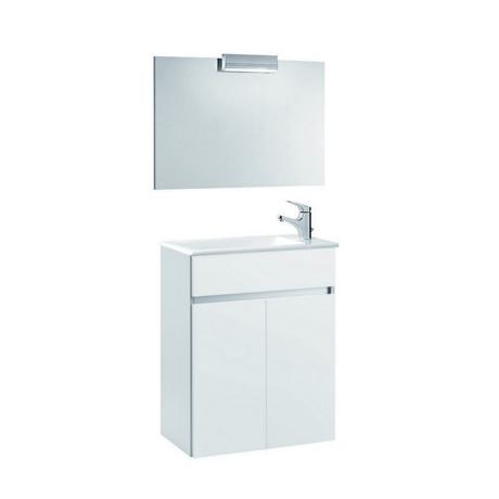 meuble de salle de bain suspendu 58x32cm blanc compact comparer les prix de meuble de salle de. Black Bedroom Furniture Sets. Home Design Ideas
