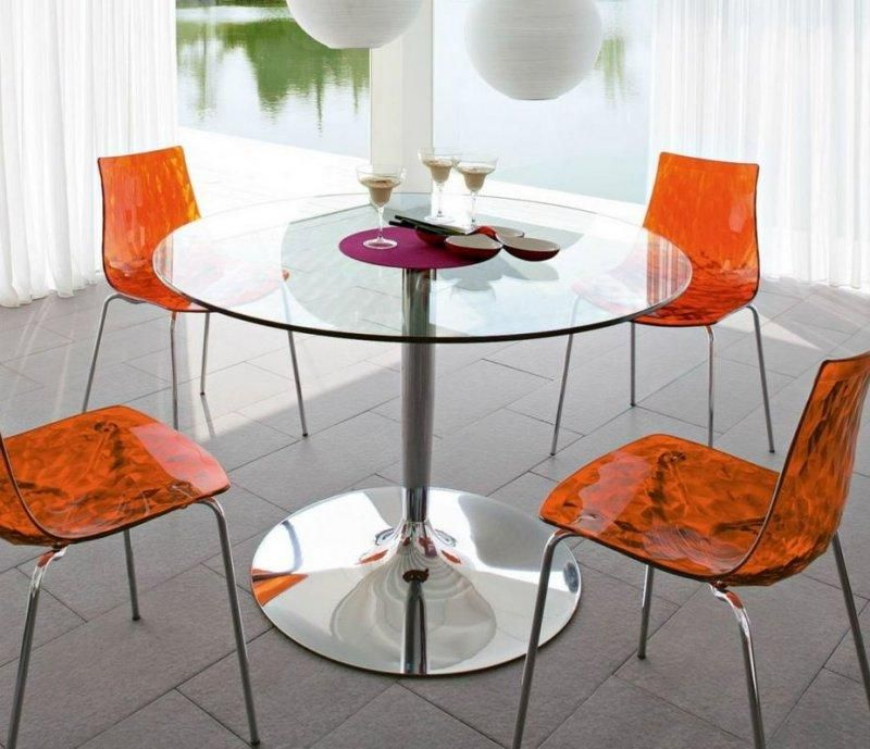 calligaris table repas ronde planet 120x120 en verre pi tement acier chrom comparer les prix de. Black Bedroom Furniture Sets. Home Design Ideas