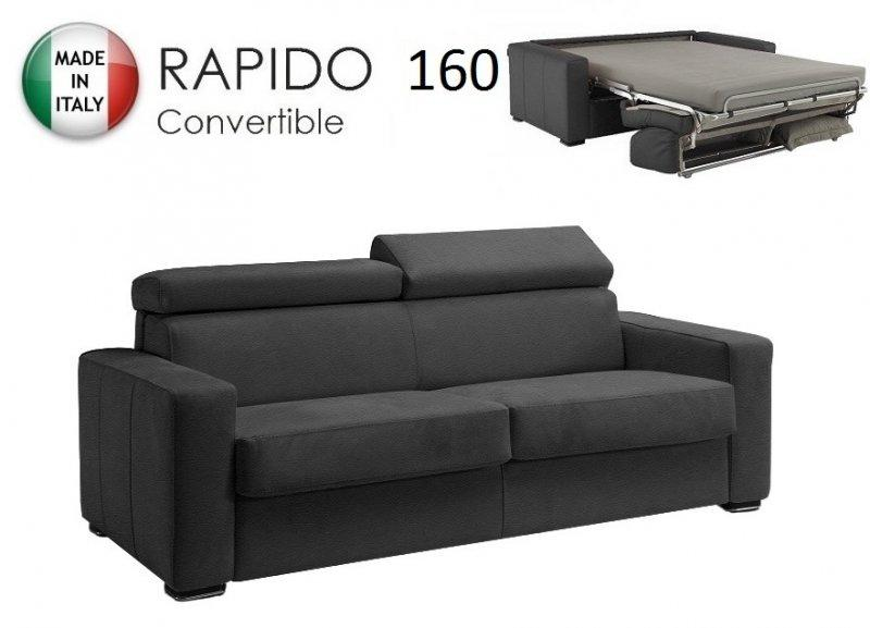 canape rapido sidney deluxe cuir vachette gris matelas 14 cm couchage quotidien 160 cm. Black Bedroom Furniture Sets. Home Design Ideas