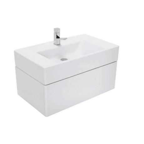 Meuble de salle de bain suspendu 80x47cm laqu blanc - Meuble suspendu salle de bain ...