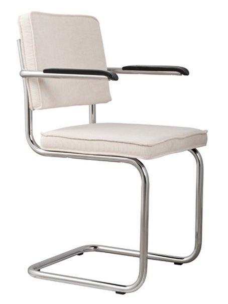 Chaise zuiver ridge rib velours blanc avec cadre chrome for Chaise zuiver
