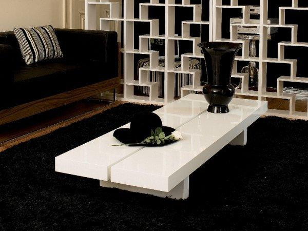 Temahome tokyo grande table basse japonaise blanc brillant - Grande table basse de salon ...