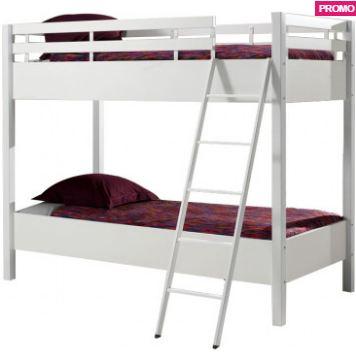 lit superpose 90x200 pour enfant coloris blanc. Black Bedroom Furniture Sets. Home Design Ideas